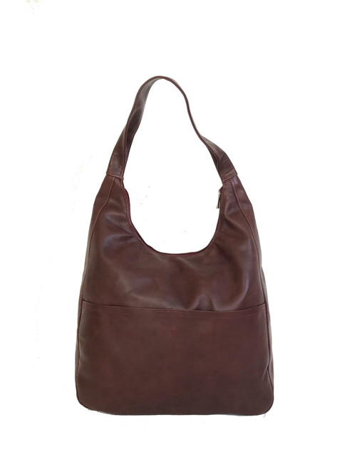 Mahogany Leather Hobo Bag, Everyday Fashion Bags, Coco