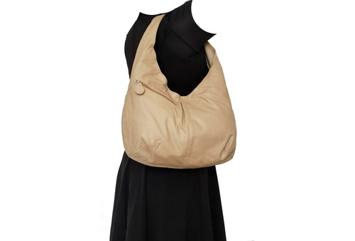 Genuine Leather Hobo Bag w/ Pockets, Handmade Women Handbags, Alicia