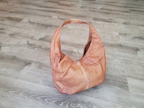 Brown Leather Hobo Bag w/Braided Detail, Shoulder Handbags, Women Bags, Alison