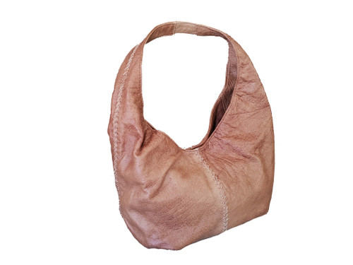 Brown Leather Hobo Bag w/Braided Detail, Shoulder Handbags, Women Bags, Alison