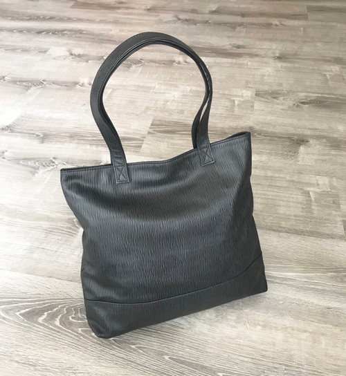 Black Leather Tote Bag w/ Original Textured Design, Yosy by Fgalazebags