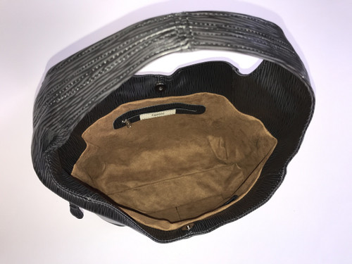 ... Black Leather Hobo Bag w  Pockets 3e63a34724014