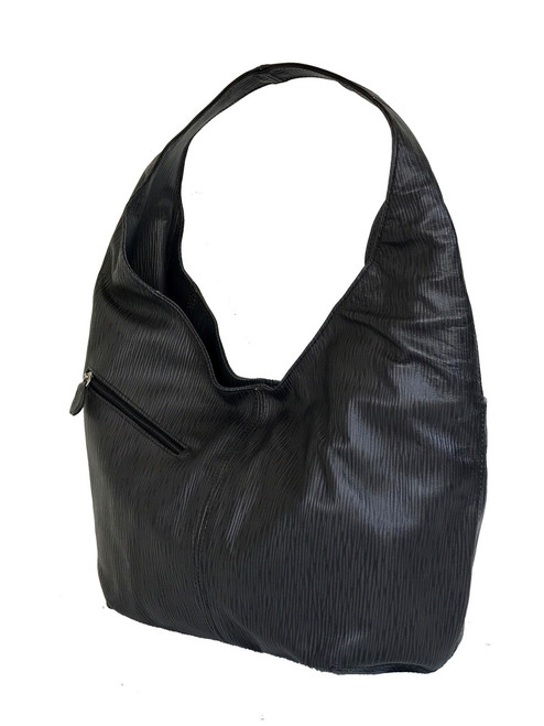 Black Leather Hobo Bag w/ Pockets, Casual Handbags, Alicia