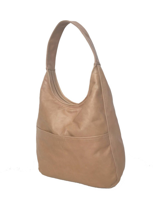 Woman Handbag, Natural Camel Leather Hobo Bag, Cocoon