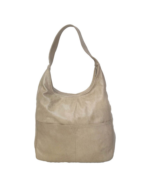 Ivory Leather Hobo Bag, Casual Everyday Handbag, Cocoon