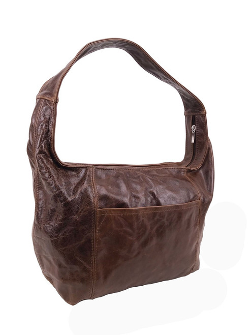 Distressed Brown Leather Hobo Bag with Pockets, Everyday Handbag, Rosa