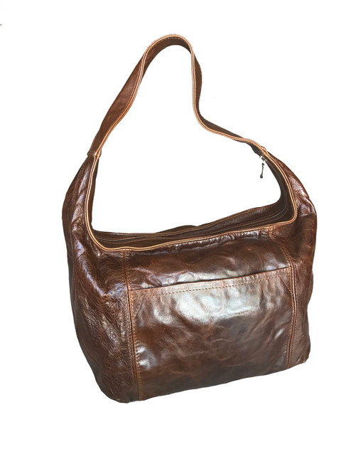 vintage leather bag in a hobo style