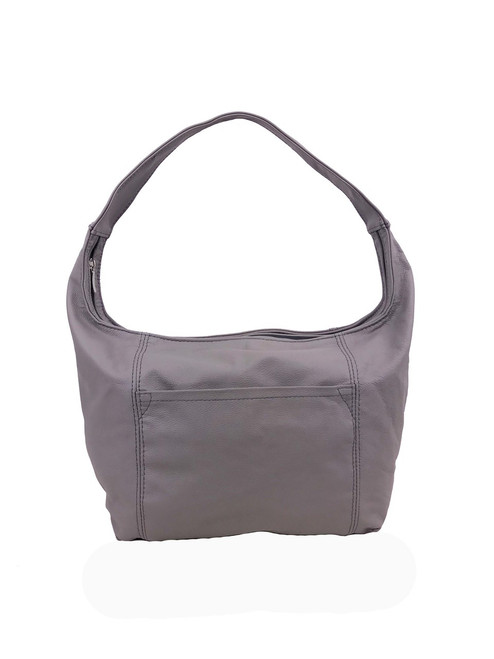 Gray Leather Hobo Bag with Pockets, Everyday Handbag Purse, Rosa