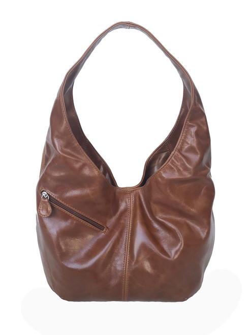 Brown Leather Hobo Bag for Women, Shoulder Handbag, Alicia
