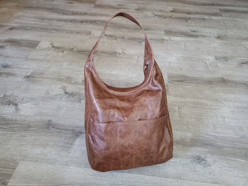 distressed brown leather hobo bag