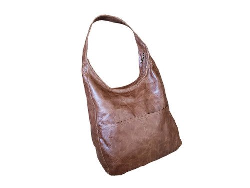 Brown Leather Hobo Bag with Pockets, Vintage Leather Purses, Cocoon