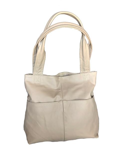 Camel Leather Shoulder Bag with Pockets,  Cloe