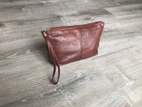 Brown Leather Bag, Make Up Pouch, Women Purses, Cosmos