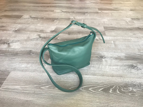 Green Leather Cross body Bag, Everyday Small Casual Purse, Fashion and Trendy Handbags, Abby