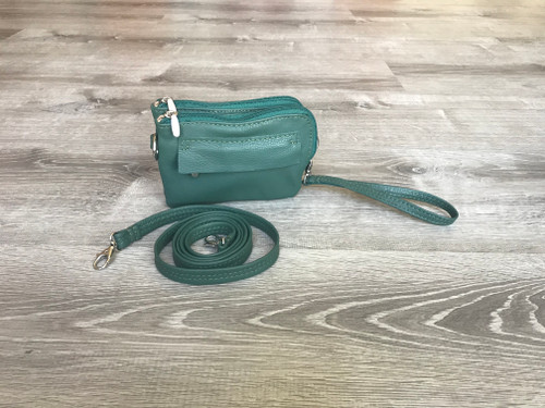 Small Green Distressed Leather Cross body Bag, Everyday Casual Purse, Gina