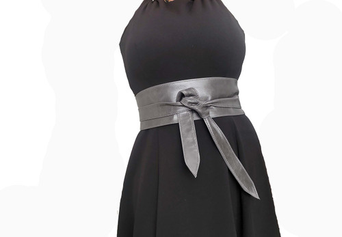Wrap Gray Leather Obi Belt, Fashion Distressed Wide Belts, Dean