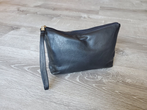Black Leather Clutch Bag w/ Wrist Strap, Fashion Purse, Small Leather Bag, Leather Pouch, Leather Clutch, Handmade Handbags, Comet