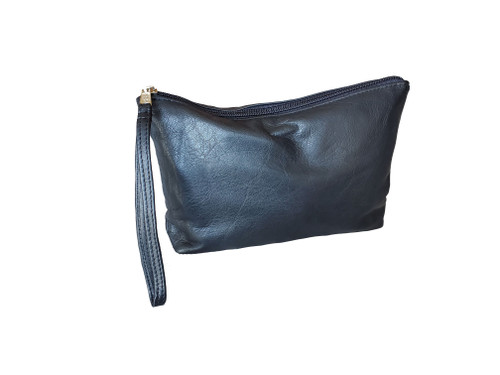 Black Leather Clutch Bag w/ Wrist Strap, Fashion Purse, Small Leather Bag, Leather Pouch, Leather Clutch, Handmade Handbags, Comet