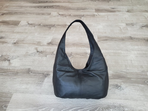 Black Leather Bag, Classic Casual Hobo Bags for Women, Handmade Purses and Handbags, Alyna