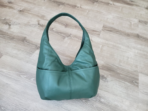 Green Leather Bag, Classic Fashion Hobo Bags for Women, Handmade Purses and Bags, Alyna