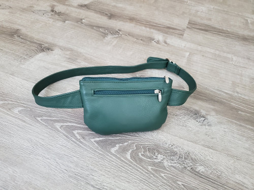 Green Leather Belt Bag, Waist Bag, Cross body Fanny Pack, Hip Bag, Unisex, David