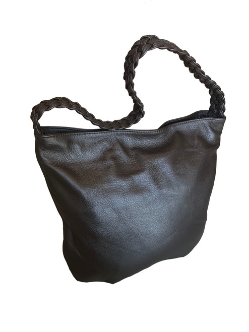 Brown Leather Bag w/ Braided Handle, Fashion Casual Shoulder Handbag, Claudia