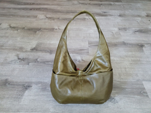 green leather hobo bag