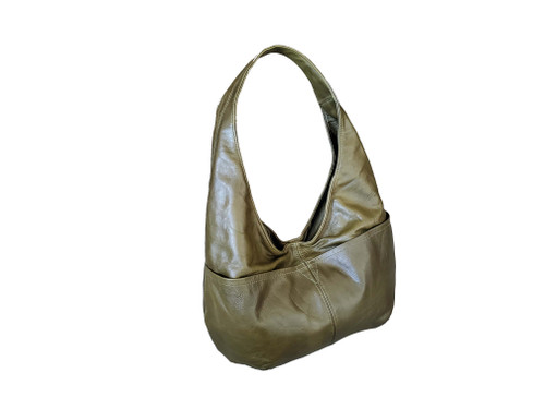 Green Leather Bag in Vintage Distressed Style, Classic Everyday Fashion Hobo Bags for Women, Alyna