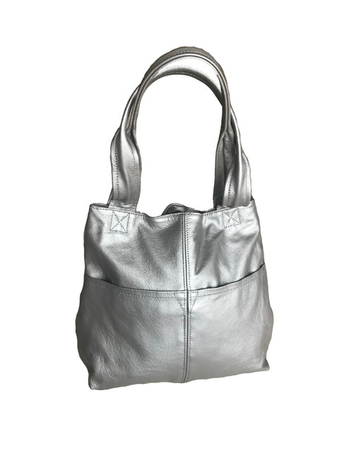 Silver Leather Bag, Fashion and Trendy Women Handmade Purses and Totes, Cloe