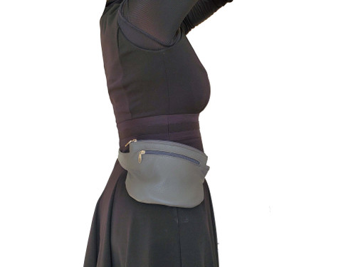 Gray Leather Hip Bag, Waist Bag, Fanny Pack, Belt Hip Bag, Unisex, David
