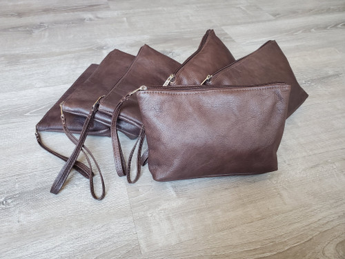 Chocolate Leather Clutch Bag w/ Wrist Strap, Fashion Small Leather Bag, Leather Pouch Clutch, Handmade Handbags, Comet