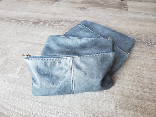 Gray Leather Bag, Fashion Small Leather Handbag, Leather Pouch Flat Clutch, Wallet Bag, Cosmetic Bag, Co