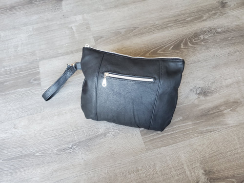 Black leather clutch with silver zipper