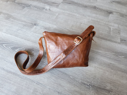 Distressed brown leather bag