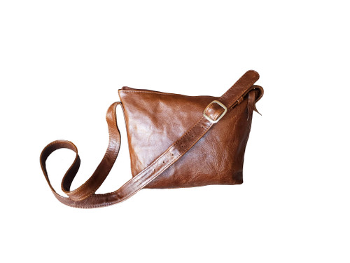 Distressed Brown Leather Bag, Everyday Small Casual Crossbody, Fashion and Trendy Handbags, Abby