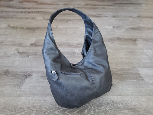 gray leather hobo bag