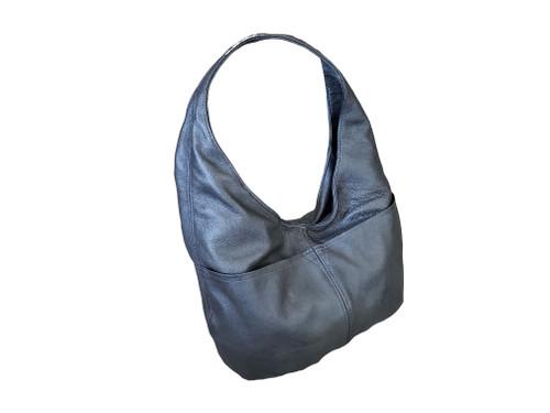 Gray Leather Bag, Casual Everyday Fashion Hobo Shoulder Handbag, Alicia