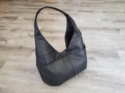 Genuine black leather hobo bag