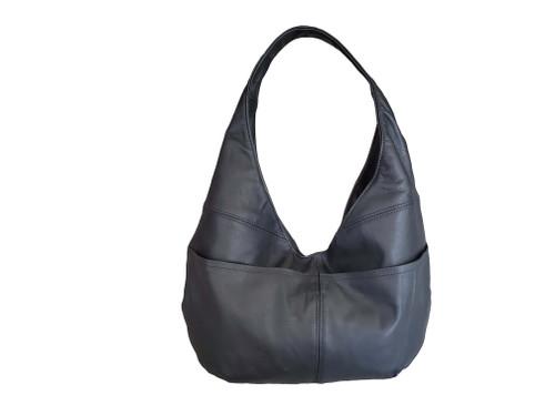 Black Leather Bag, Casual Hobo Bags for Women, Handmade Handbags, Alyna