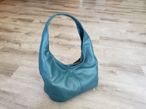 teal leather bag