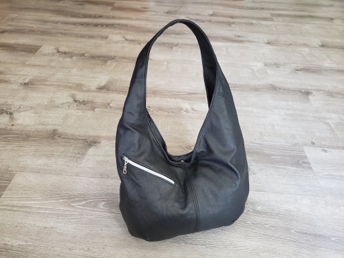 Black leather hobo bag