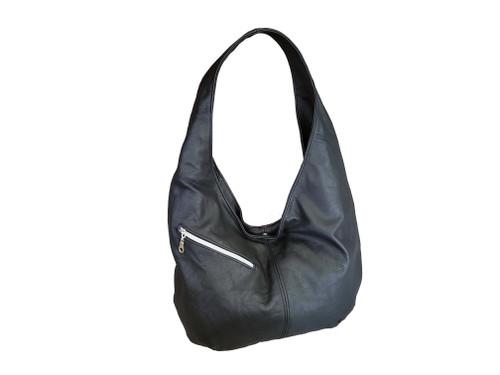 Black Leather Bag, Casual Everyday Women Hobo Handbags, Alicia