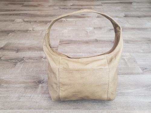 Camel Leather Hobo Bag with Pockets, Everyday Shoulder Bag, Rosa