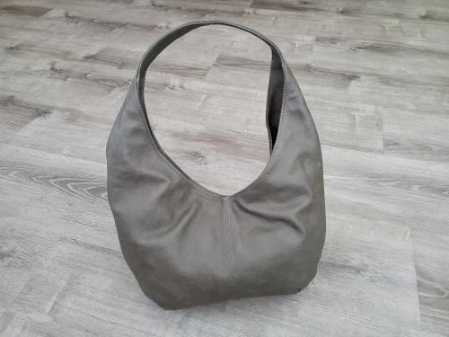 Rustic Gray Leather Hobo Bag, Casual Everyday Women Handbags, Alyna