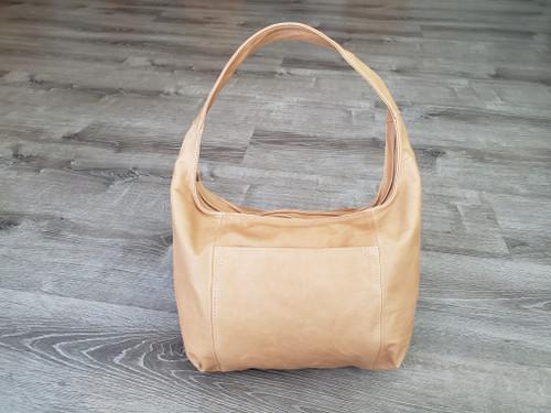 Distressed Camel Leather Hobo Bag, Bohemian Handbag, Rosa