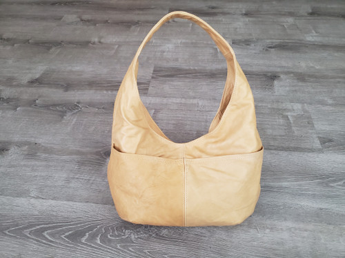 Camel Leather Bag in Vintage Distressed Style, Casual Hobo Bags for Women, Alyna