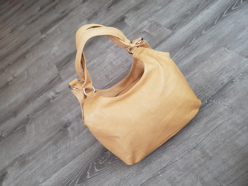 Camel Leather Bag, Everyday Fashion Shoulder Handbag, Bony