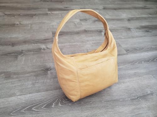 Distressed Leather Hobo Bag, Bohemian Camel Handbag, Rosa