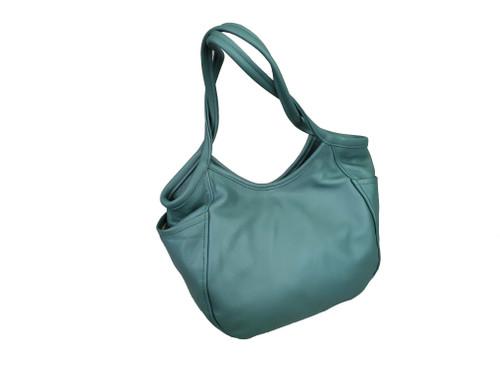 Green Leather Hobo Bag, Women Casual handbags, Amelia