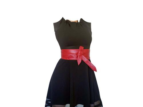 Red Wrap Leather Obi Belt, Trendy Wide Belts, Dean